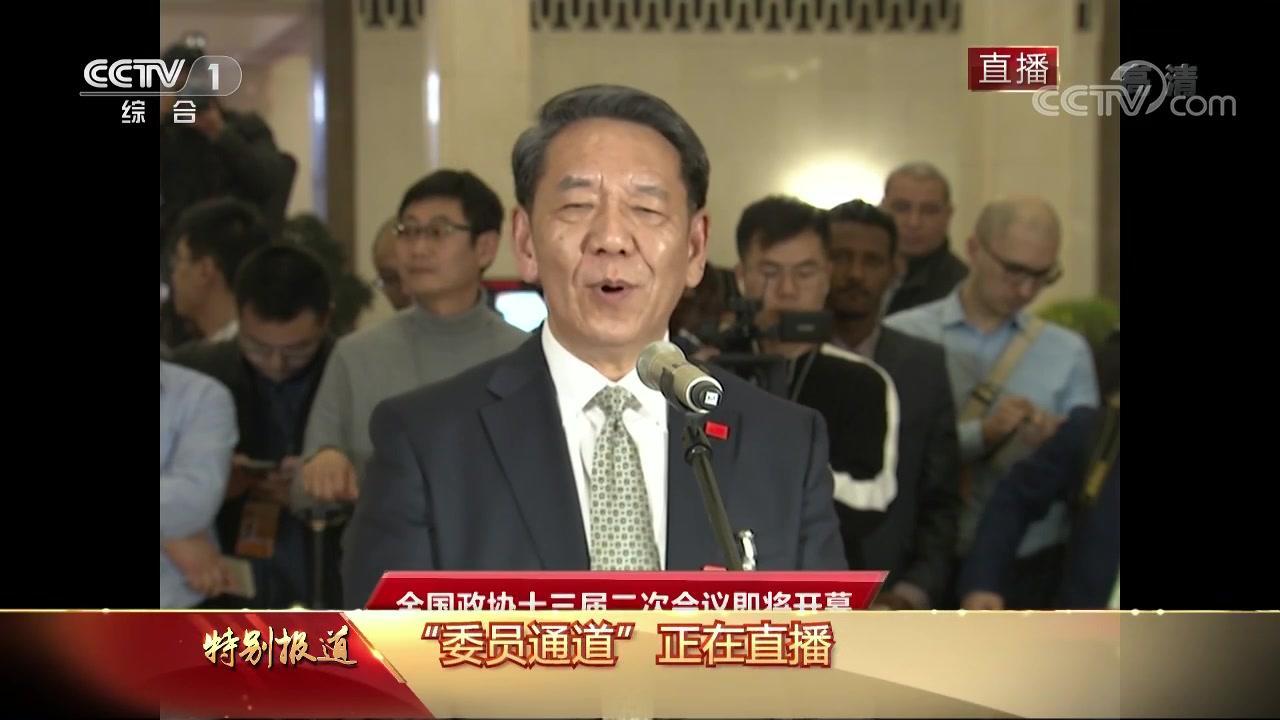 """""""委员通道"""" 中央广播电视总台央视记者向吴伟仁提问"""